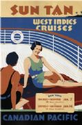Vintage Travel Poster Canadian Pacific Sun Tan West Indies